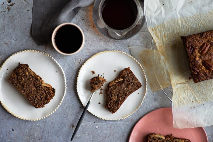 Gluten free Almond, Pecan, Date and Chia Seed Banana Bread