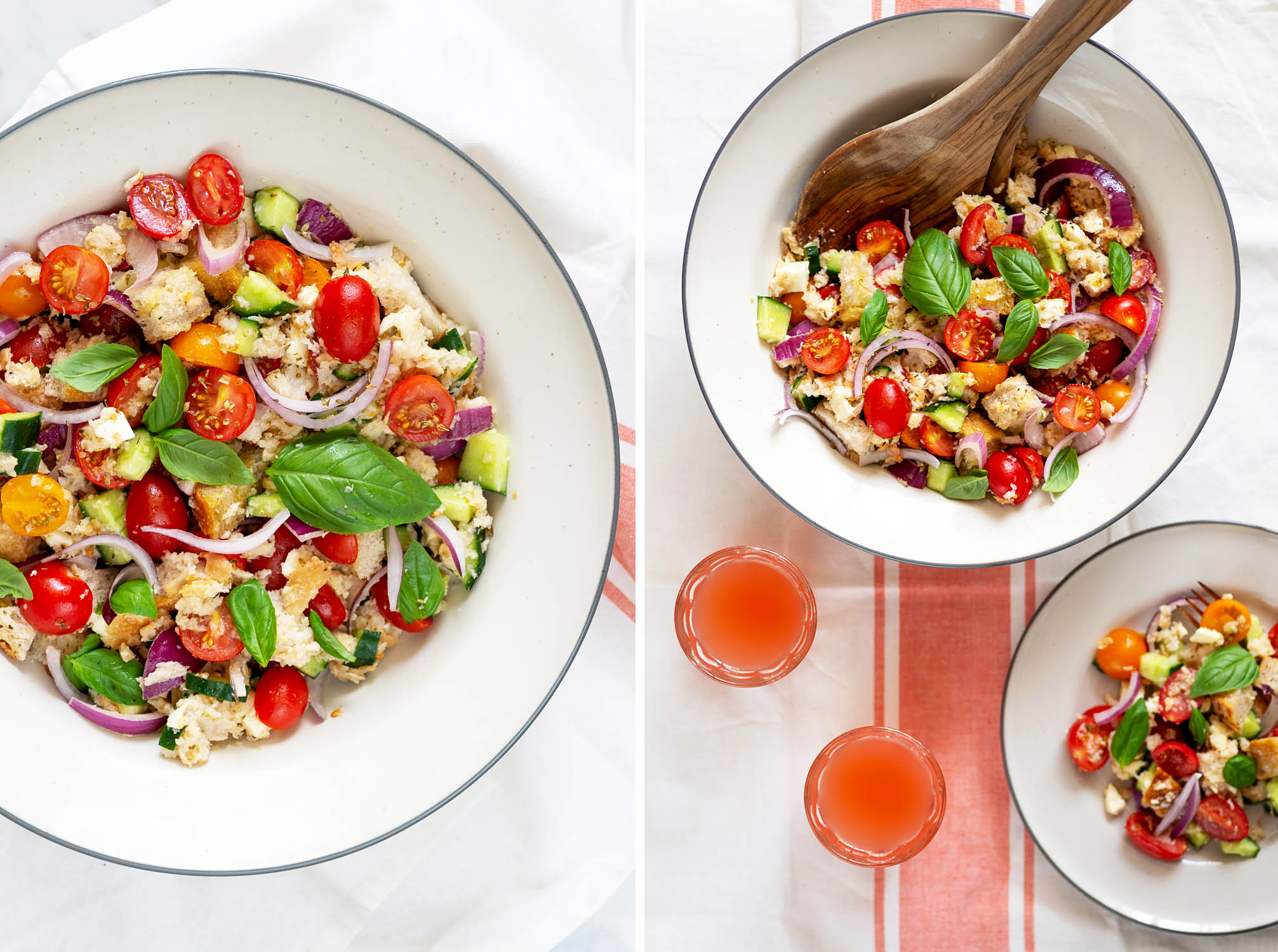 Tuscan Panzanella Salad with Tomatoes, Bread and Basil. Add your favourite seasonal ingredients, like red onions, cucumbers and mozzarella cheese. Panzanella is perfect for lunch on hot summer days.