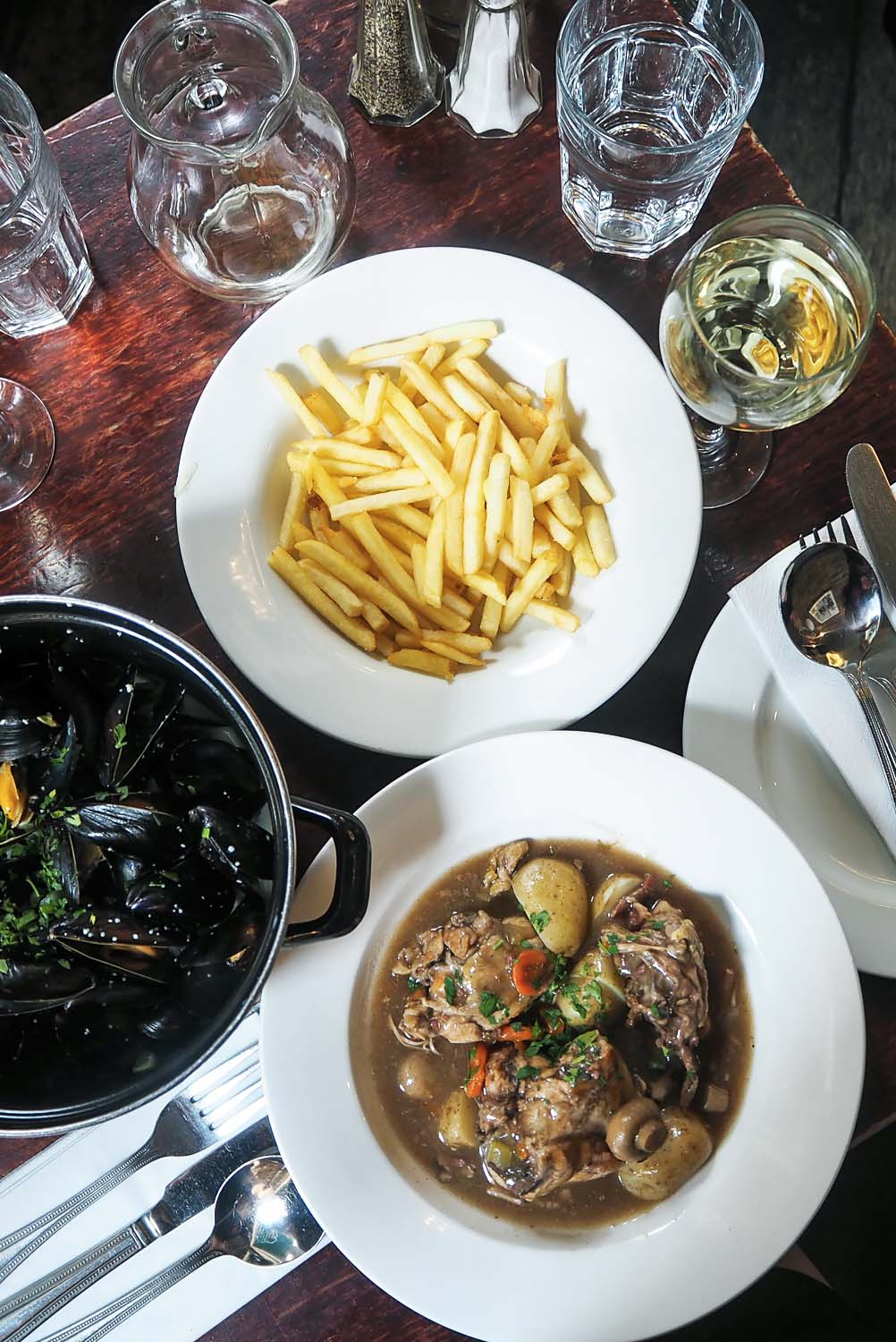 Moules Frites and Coq au Vin | French Dining at Le Garrick restaurant in Covent Garden, London