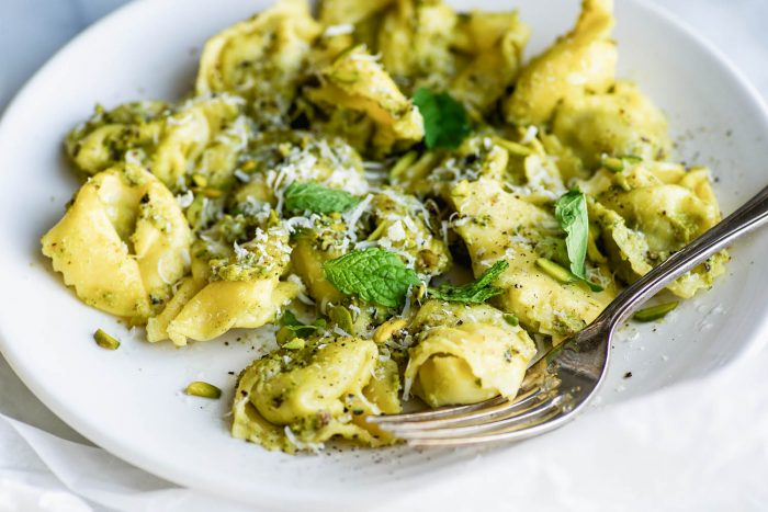 Spinach and Ricotta Tortelloni with Pistachio and Mint Pesto
