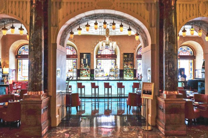 The Art Nouveau Lobby Bar at Belmond Grand Hotel Europe in Saint Petersburg, Russia