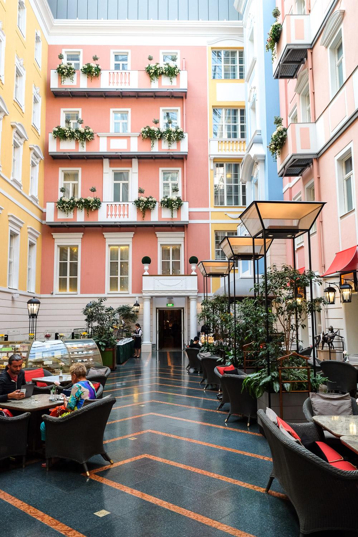 The Mezzanine café at Belmond Grand Hotel Europe in Saint Petersburg, Russia