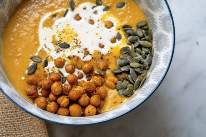 Carrot and Chickpea Soup with Crunchy Masala Chickpeas