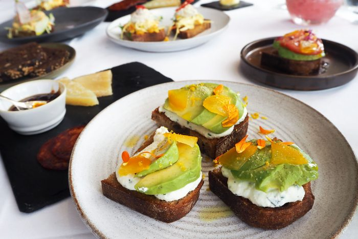 Toast, cervelle de canut cheese & sliced avocado - Part of the Michelin starred Brunch menu at Galvin at Windows, 28th floor of Hilton Park Lane hotel, London