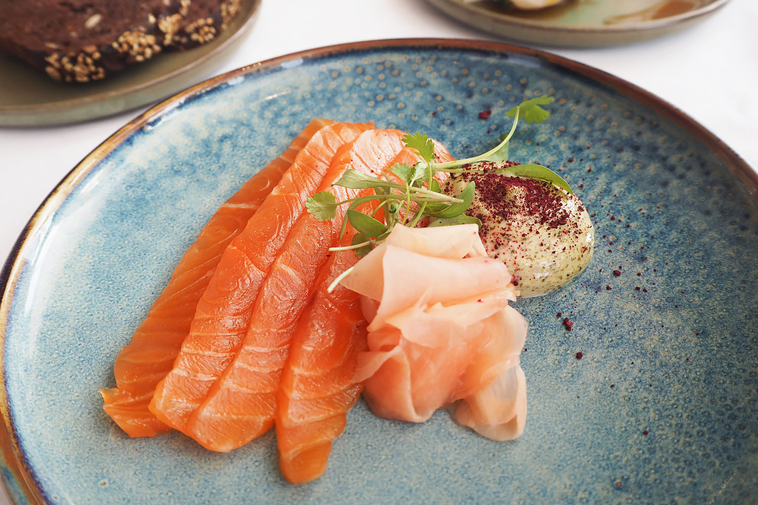 Kombu cured Salmon - A Michelin starred Brunch menu at Galvin at Windows, 28th floor of Hilton Park Lane hotel, London