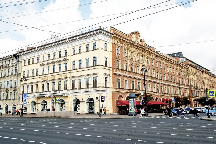 Nievsky Prospekt and the Belmond Grand Hotel Europe in Saint Petersburg, Russia