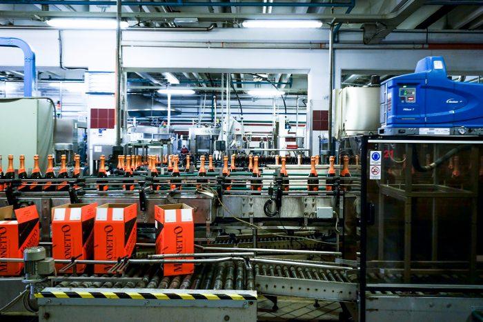 The production site of Mionetto, where prosecco sparkling wine is bottled, in Valdobbiadene, Veneto