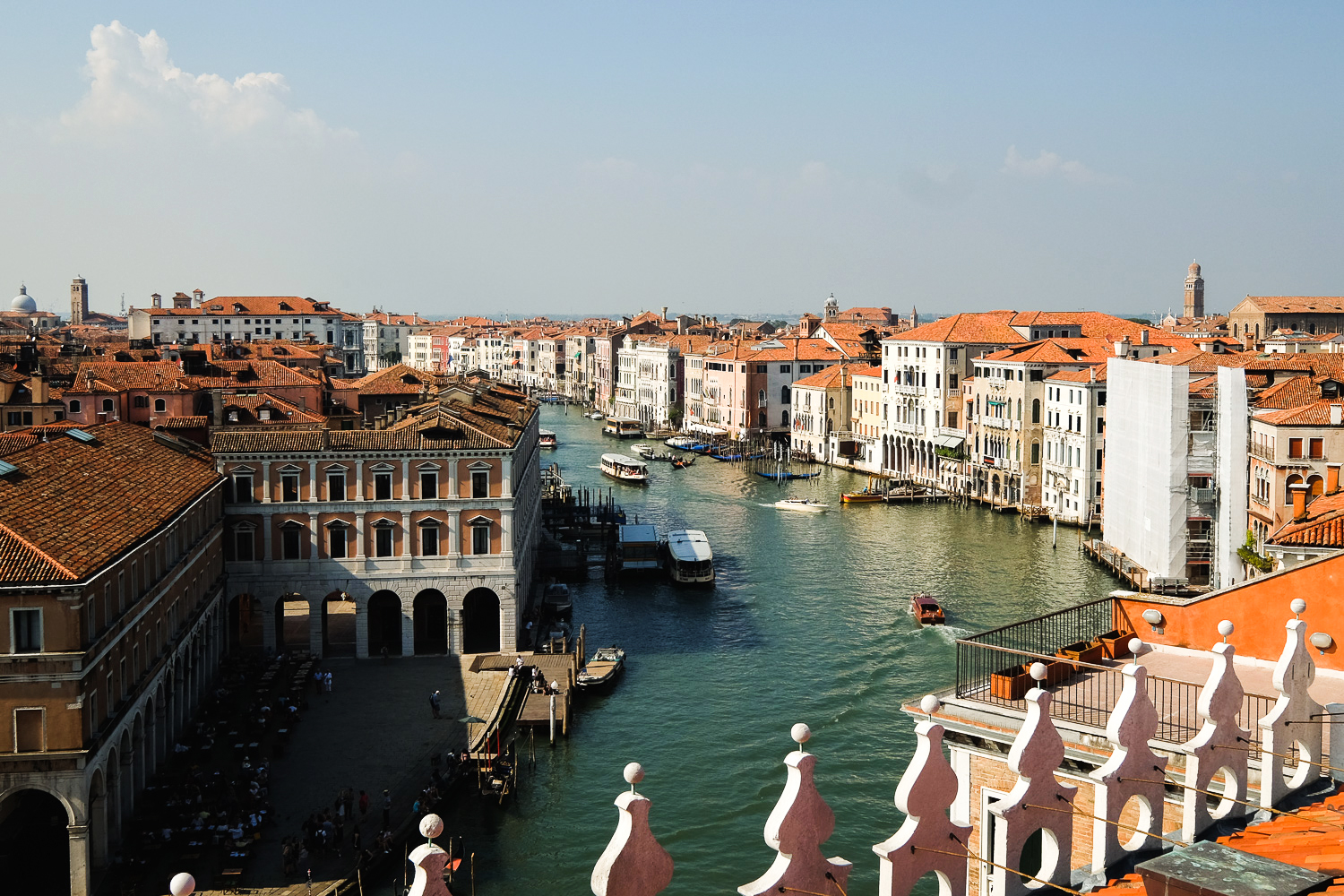 The view from the rooftop terrace at Fondaco dei Tedeschi in Venice, Italy