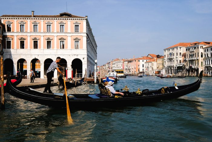A gondola in Venice near Rialto bridge.