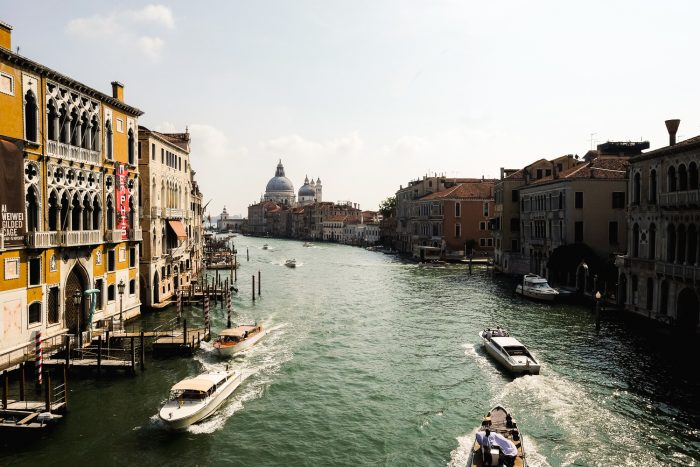 The view from Ponte dell'Accademia, one of only four bridges to span the Grand Canal in Venice, Italy