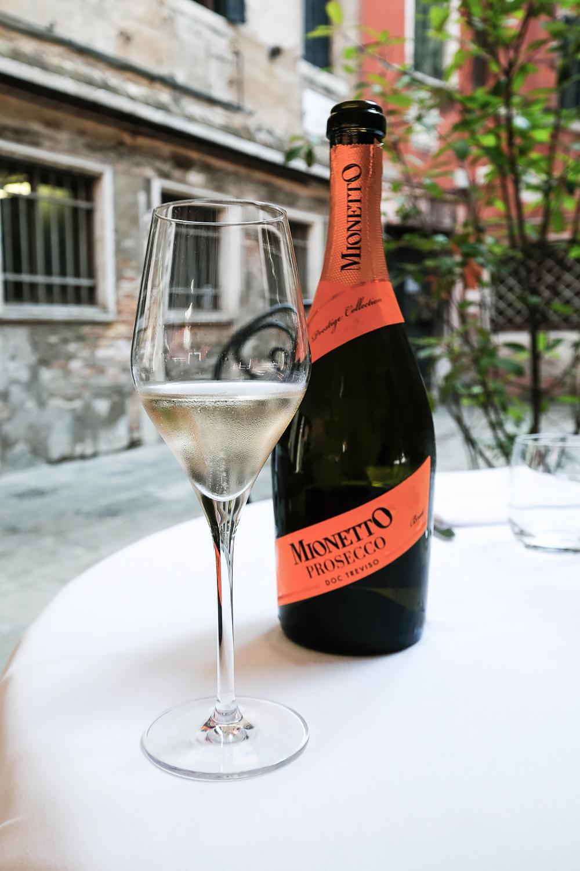 Mionetto Prosecco wine at Ristorante Antico Pignoloin Venice, Italy