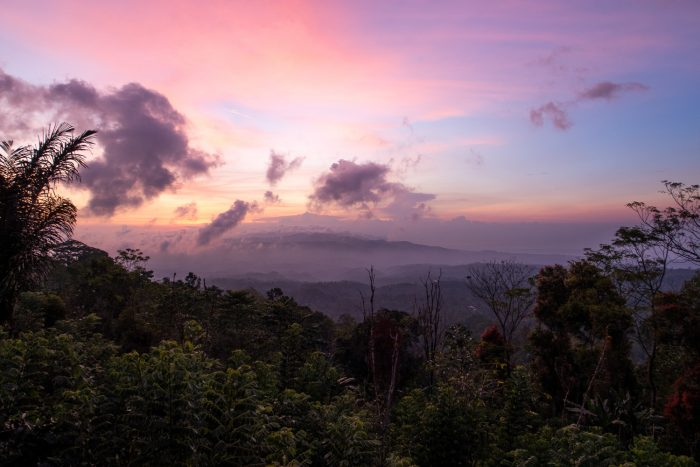 Sunset in mount batu karu in northern Bali, Indonesia