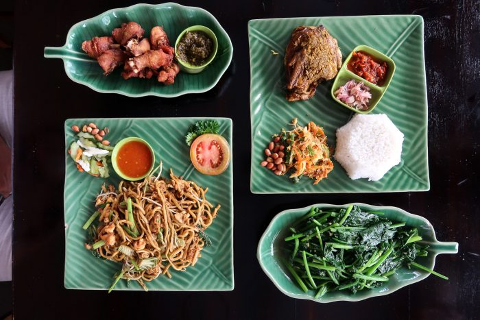 "Balinese dishes in a ""warung"", a traditional restaurant in Bali"