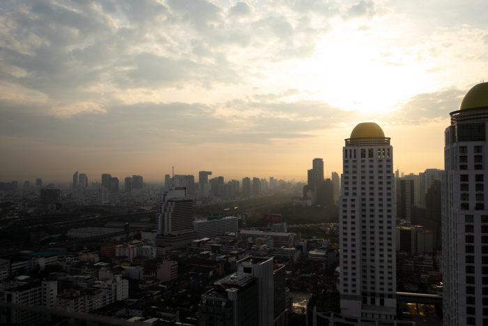 Sunrise view from the Executive Lounge on 32nd floor at Amari Watergate Hotel in Bangkok, Thailand
