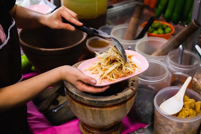 Som Tum (papaya salad) in Bangkok, Thailand