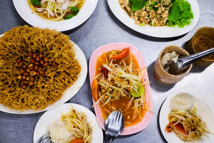 Traditional Thai dishes including Som Tum (papaya salad) and Yum Pla Duk Fu (a delicious deep-fried catfish dish) | Mondomulia