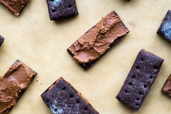 Homemade chocolate Bourbon sandwich biscuits with chocolate buttercream