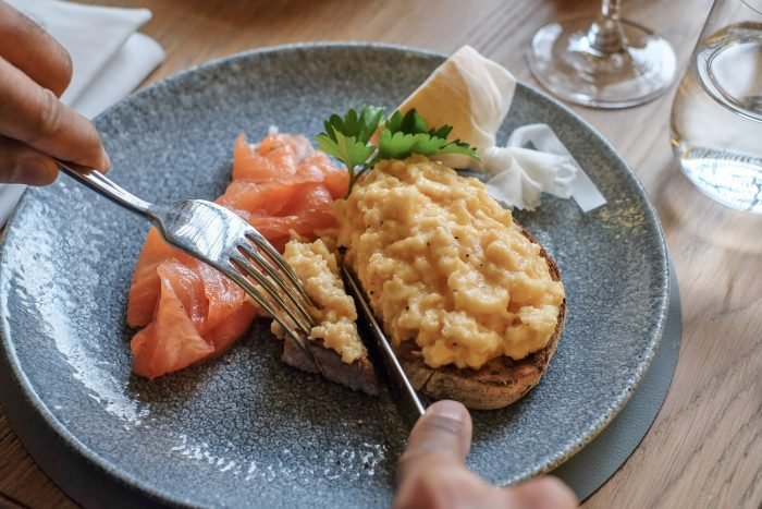 Scottish salmon and scrambled eggs | Brunch at St Pancras Brasserie by Searcys on the Grand Terrace at St Pancras International railway station in London | Photography by Mondomulia