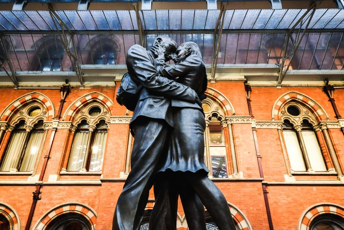 The Lovers statue on the Grand Terrace of St Pancras International railway station in London