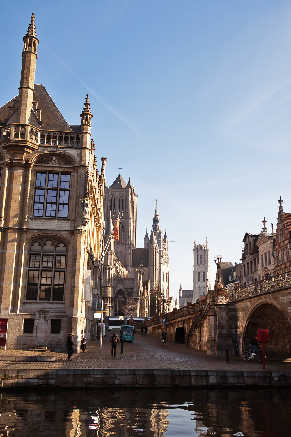 A view of Ghent's three famous towers: St Bavo's Cathedral, the Belfry, St Nicholas' Church | How To Spend a Long Weekend in Ghent, Belgium | Mondomulia