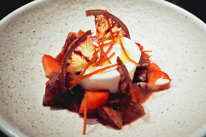 Coconut sorbet with candied blood orange and strawberries at YOPO restaurant, The Mandrake Hotel, Fitzrovia London | Mondomulia
