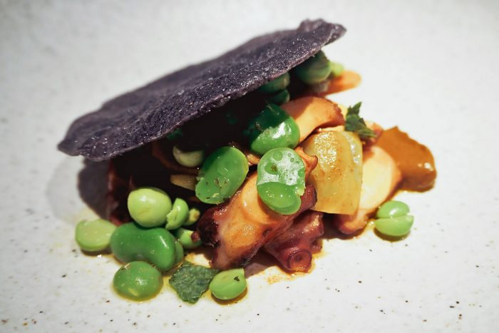Octopus in Escabeche with artichoke, broad beans and mint | YOPO restaurant, The Mandrake Hotel, Fitzrovia London | Mondomulia