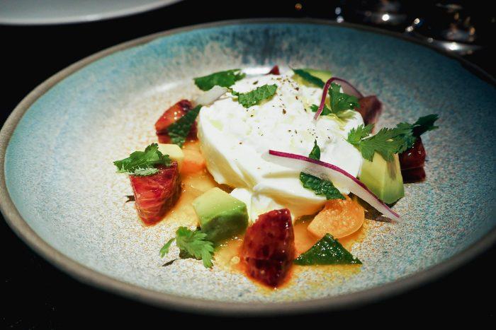 Aji Amarillo ceviche with burrata and gooseberries | YOPO restaurant, The Mandrake Hotel, Fitzrovia London | Mondomulia