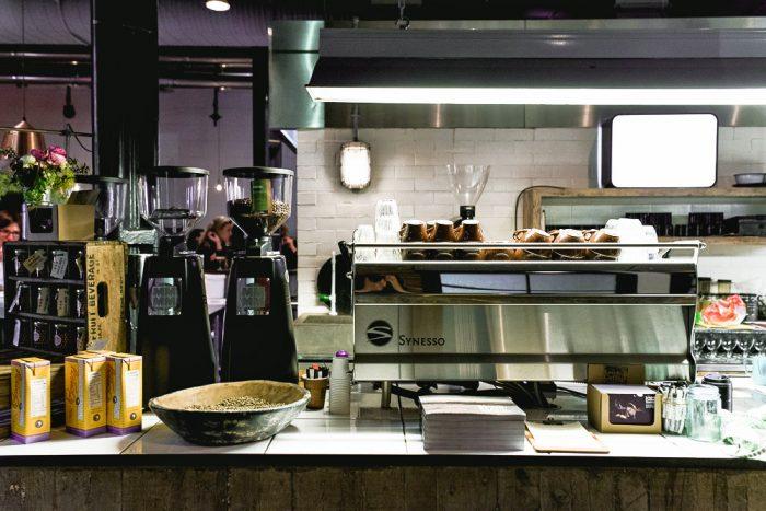 The coffee bar at Ozone Coffee Roasters in Leonards Street, London