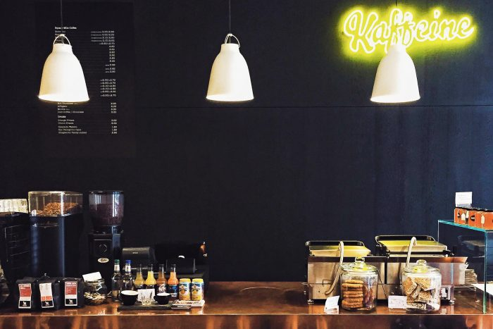 Kaffeine coffee shops on Eastcastle Street, London, UK