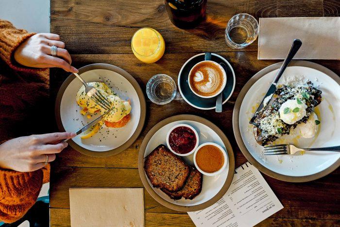 Breakfast at Ozone Coffee shop in Emma Street, east London