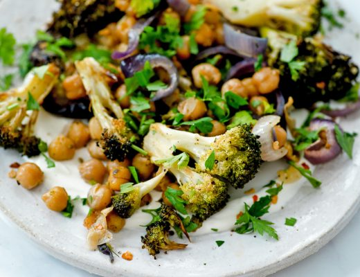 Grilled aubergine, roasted chickpea and broccoli salad with homemade labneh soft cheese