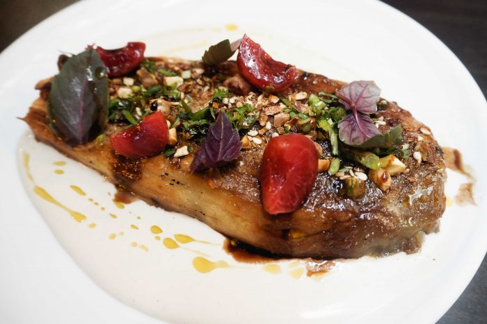 Burnt aubergine with pickled cherries & pistachios | A delicious dinner at Henrietta Bistro in Covent Garden