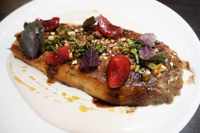 Burnt aubergine with pickled cherries & pistachios | A delicious dinner at Henrietta Bistro in Covent Garden