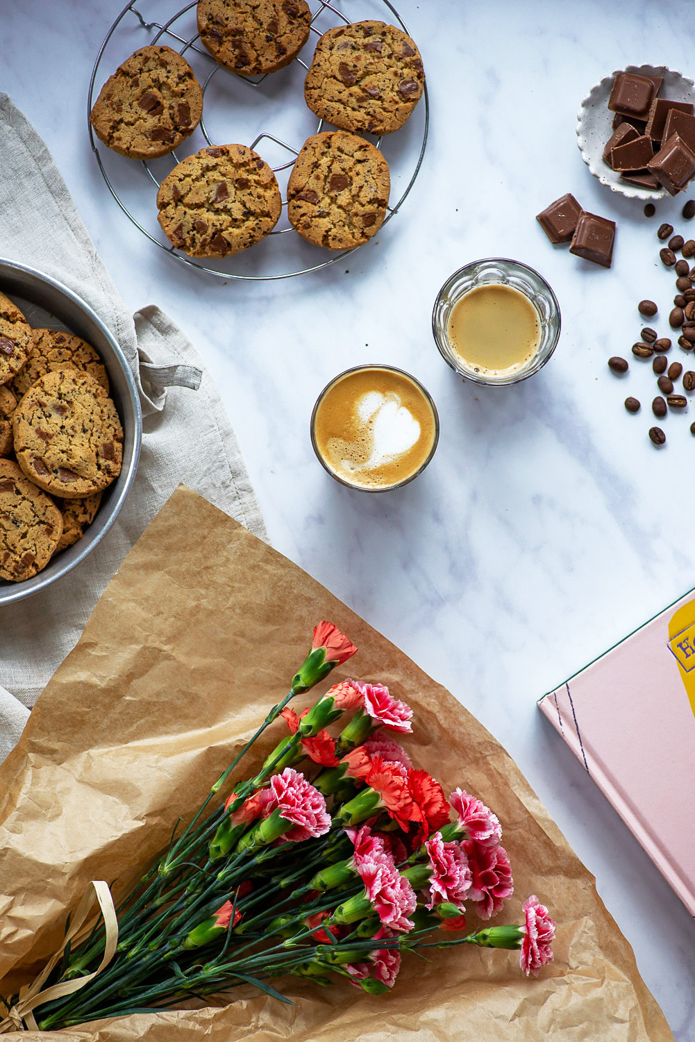 """Chocolate Chip Cookies with Coffee Beans featured in """"At Home – Middle Eastern recipes from our kitchen"""", a cookbook by Itamar Srulovich and Sarit Packer."""