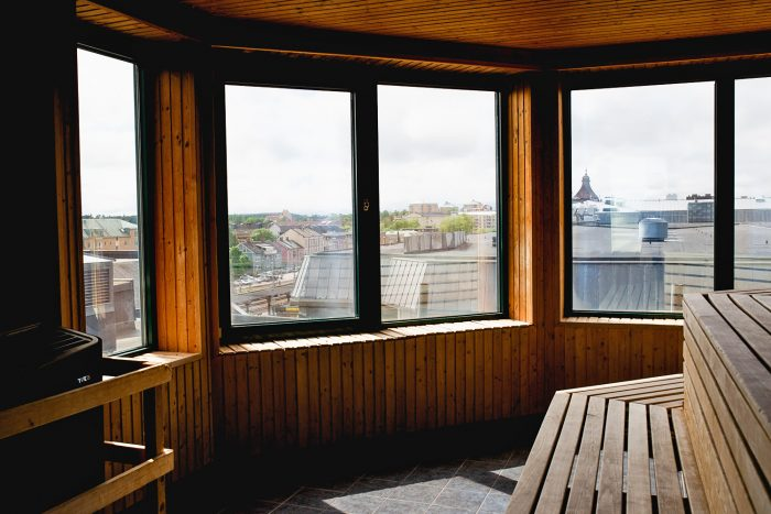 Rooftop sauna with views over Karlstad at Clarion Collection Hotel Plaza in Sweden | Mondomulia