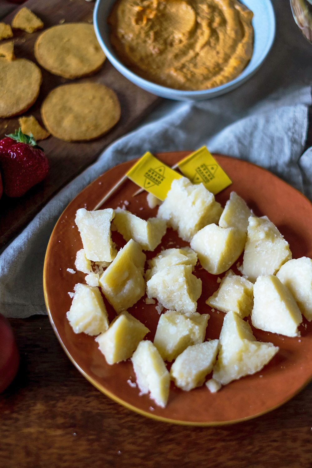 An Italian Aperitivo with Grana Padano | What makes Grana Padano special? First of all, its unique taste: it has a fragrant yet delicate taste with notes of butter, hay and dried fruit. It also has great nutritional qualities and contains a high concentration of vitamins, proteins, minerals and calcium. Grana Padanois recognised as a Protected Designation of Origin (PDO) product from a particular area in Northern Italy (Pianura Padana, Po River Valley).