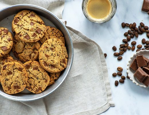 Chocolate Chip Cookies with coffee beans