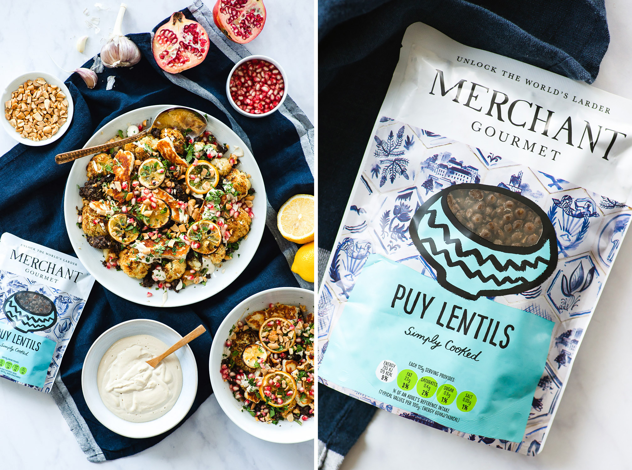 Roasted Cauliflower Salad With Merchant Gourmet Puy Lentils and Lemon Tahini Dressing