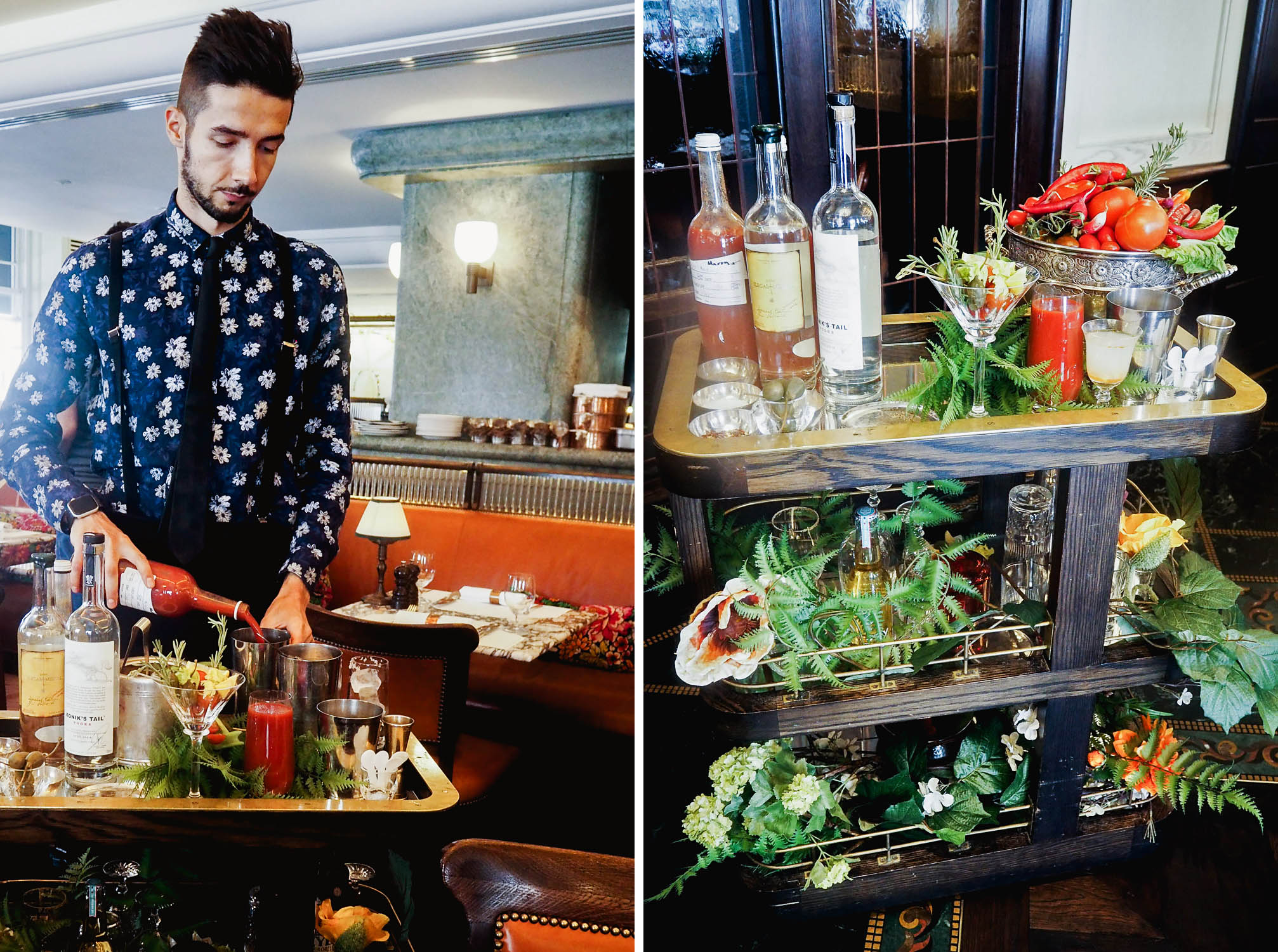 The Bloody Mary cart for brunch at 34 Mayfair, a modern grill restaurant in central London