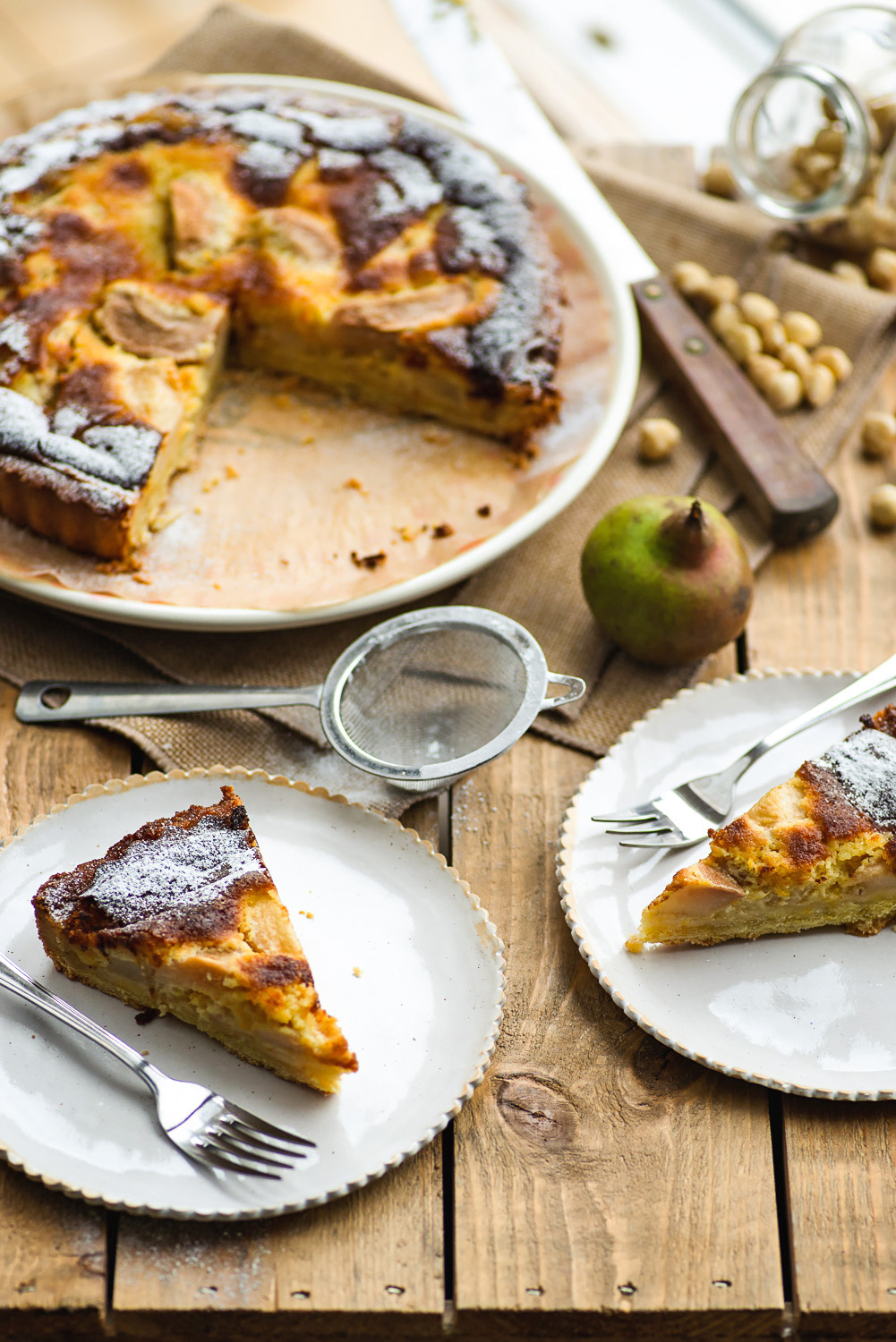 Pear and Hazelnut Frangipane Tart from Jamie Cooks Italy cookbook by Jamie Oliver | Mondomulia