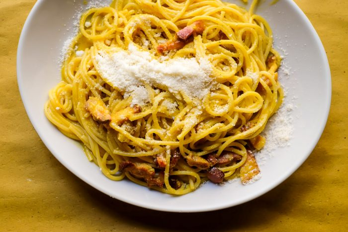 Spaghetti alla Carbonara | Testaccio Neighborhood Food and Market Tour in Rome with Devour Tours | Mondomulia