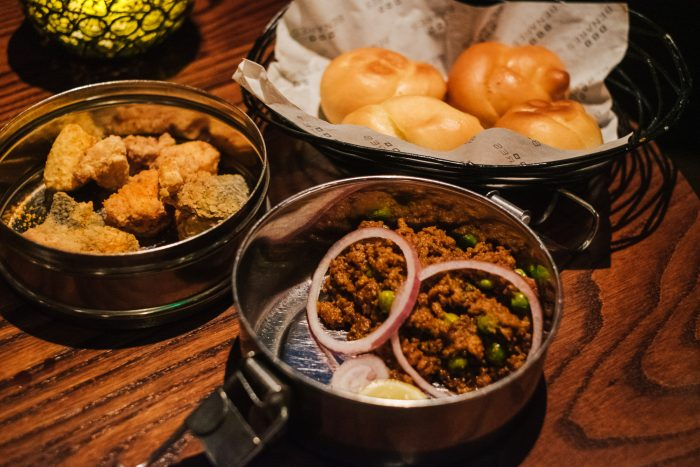Keema Maska Pao (Spiced Venison Mince with Buttered Soft Roll) at Benares, a modern Indian food with a contemporary British twist in Mayfair London