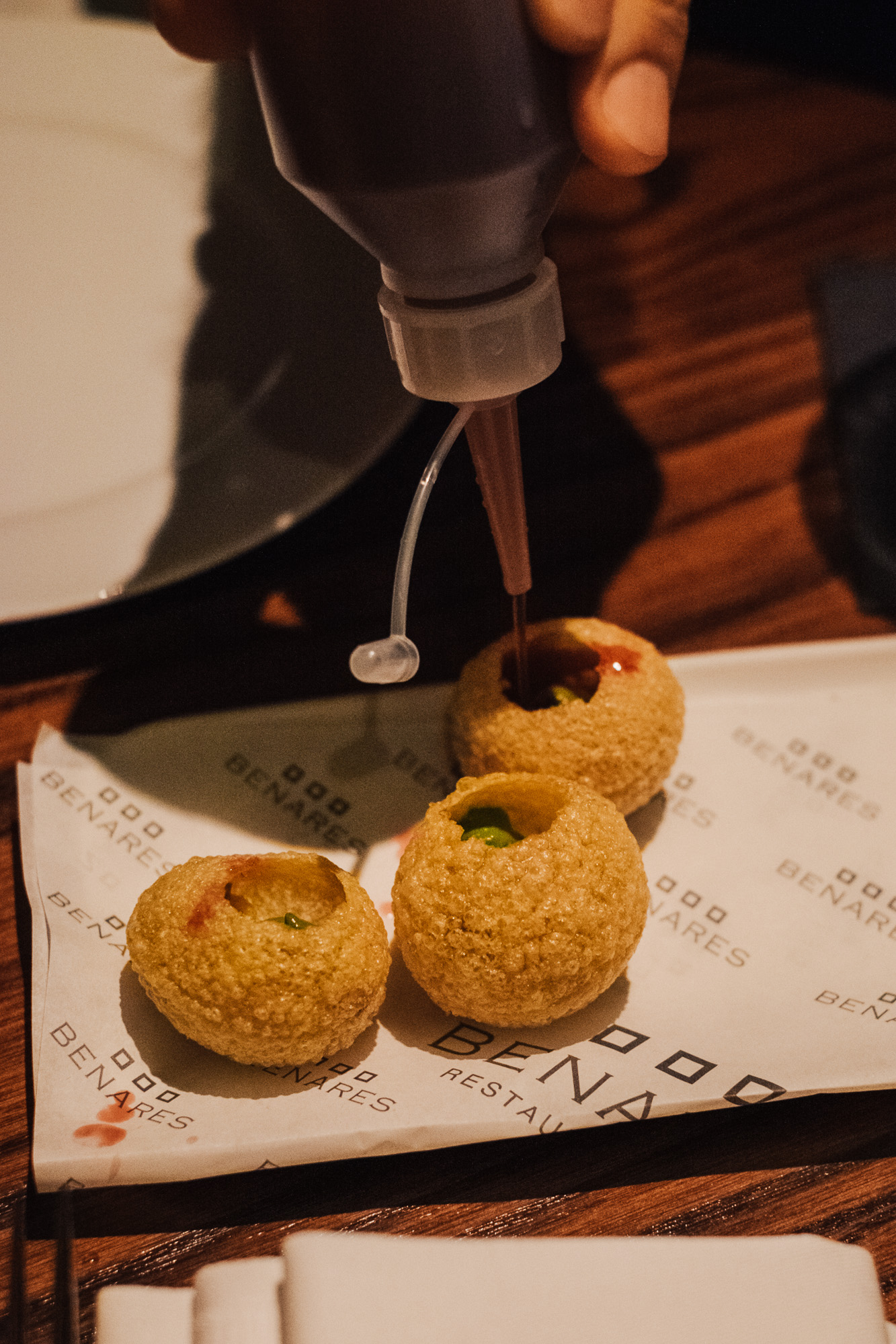 Gol Gappe with Kaanji- Fermented Black Carrot Water at Benares, a modern Indian food with a contemporary British twist in Mayfair London