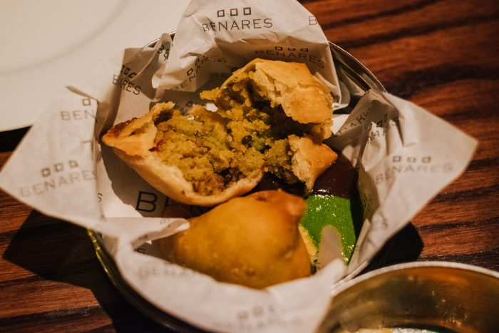 Samosa with Spiced Potato Filling, Tamarind Chutney at Benares, a modern Indian food with a contemporary British twist in Mayfair London