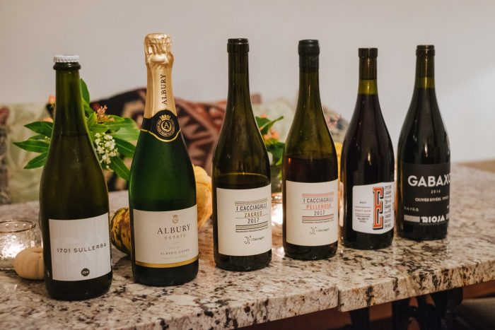 A selection of natural wines on offer to guests at Brownber Hall country house in Cumbria, England