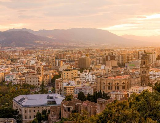 The city centre of Malaga, Costa del Sol, Andalucia at sunset |