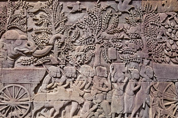 Intricately decorated bas-relief stone carvings at Angkor Wat, Unesco World Heritage Site | Mondomulia