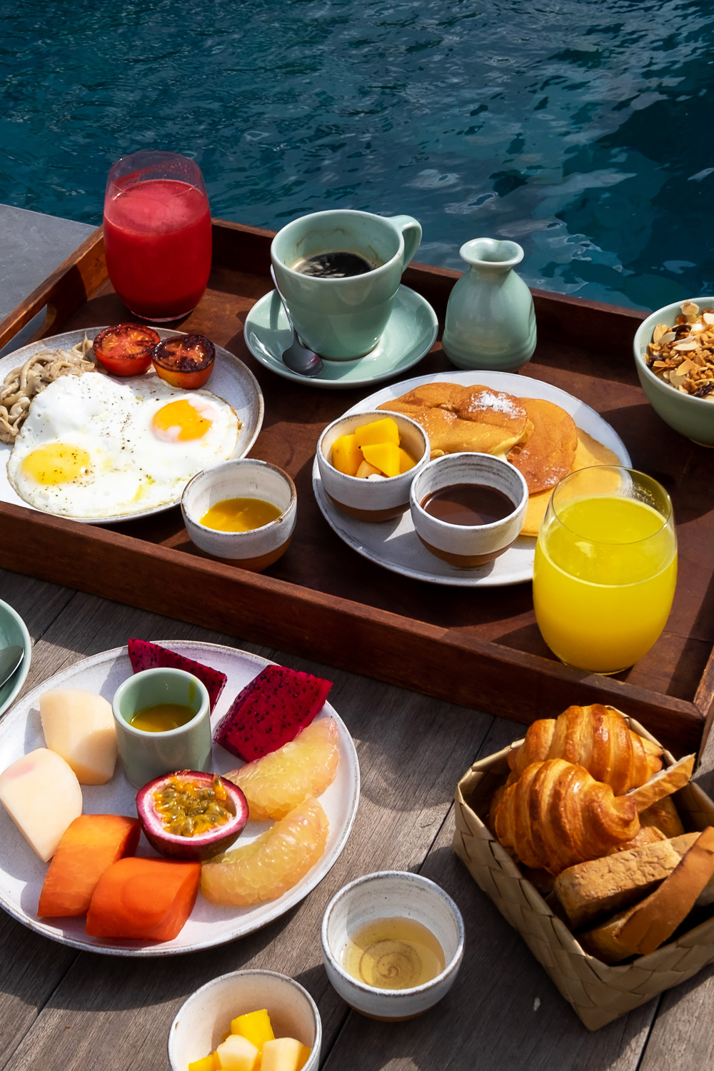 Breakfast by the private swimming pool at Zannier Hotels Phum Baitang resort in Siem Reap, Cambodia | Mondomulia
