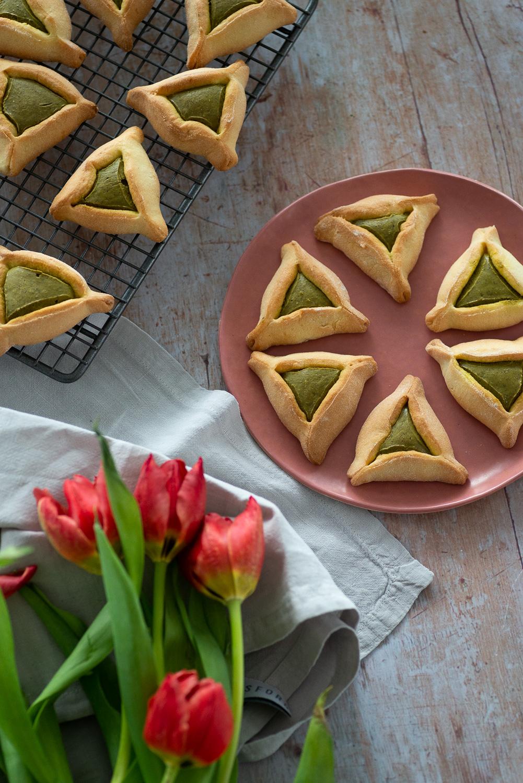 Jewish Hamantaschen Cookies with Pistachio Butter