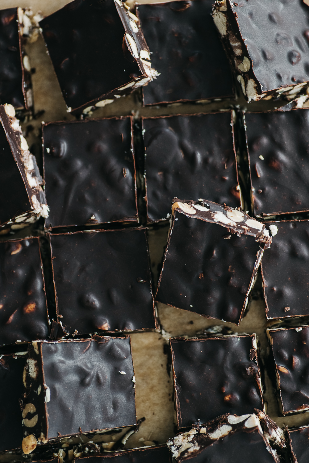 No Bake Sweet and Salty Crunchy Chocolate Bars
